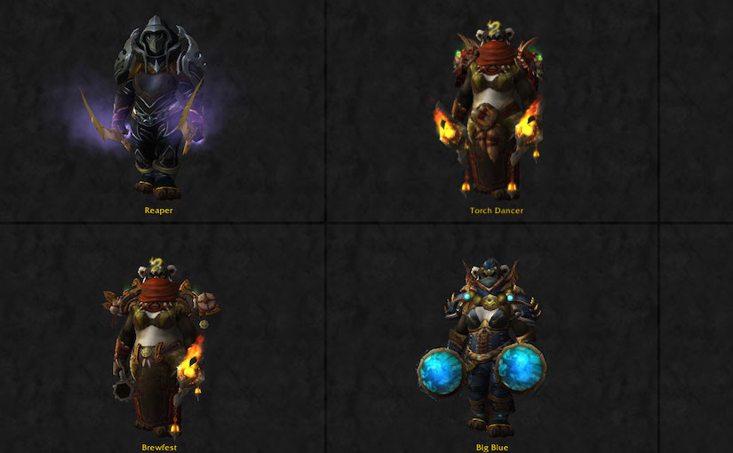 Transmog: Big Blue, Torch Dancer, Brewfest, Reaper